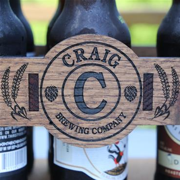 Personalized Beer Caddy with grain and hops design.