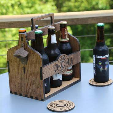 Personalized Beer Caddy with bottle opener and matching personalized brewing coasters.